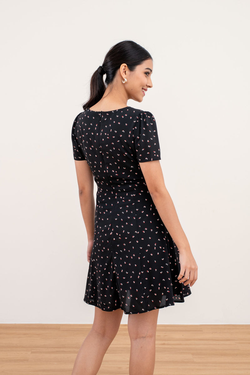 Georgina Printed Floral Dress in Black