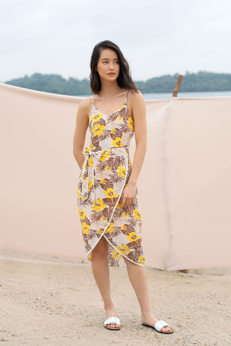 Kennedy Tropical Print Dress in Yellow