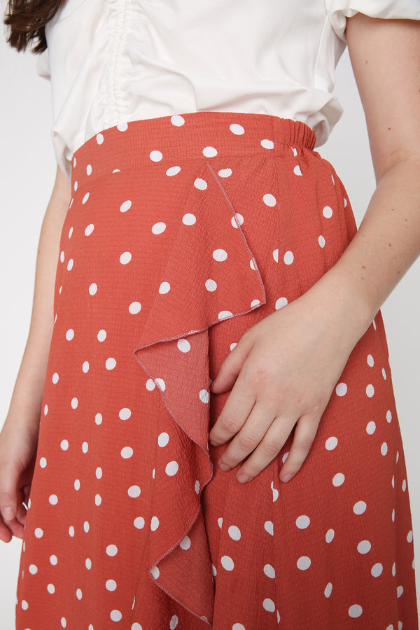 Airin Polka Dot Maxi Skirt in Red