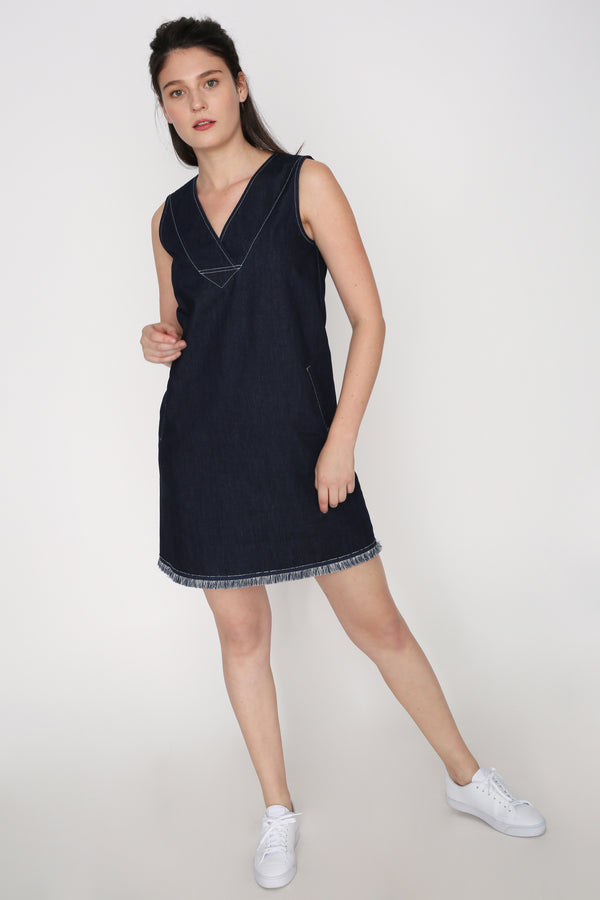 Athena Contrast Stitch Denim Dress