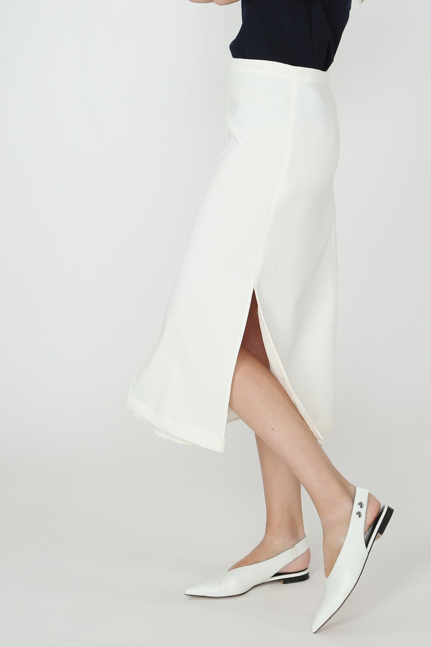 Aubrey Overlay Midi Skirt in White
