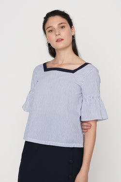 Charice Striped Button Back Top
