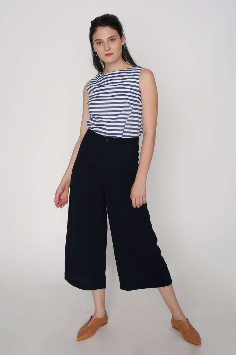 Christine Navy High Waisted Culottes