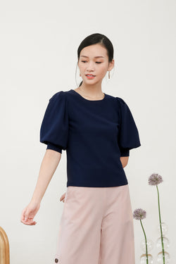 Clara Puff Sleeve Top in Navy Blue
