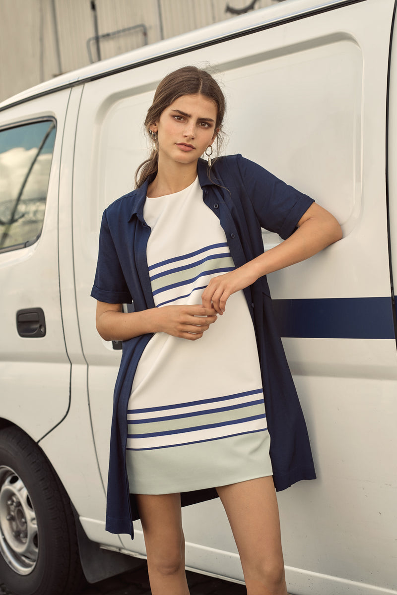 Elena Striped Shift Dress