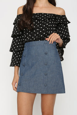 Elle Faux Button Denim Skirt