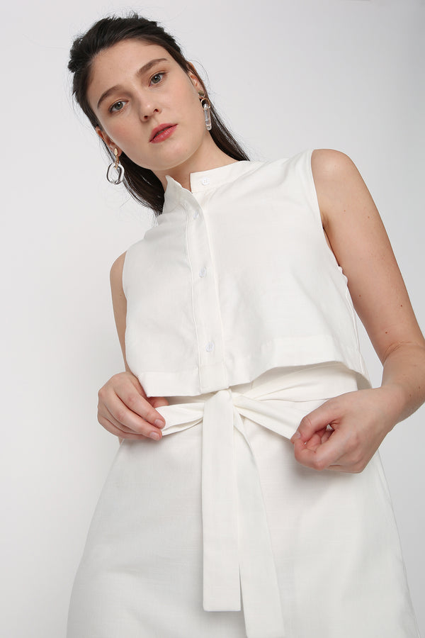 Freya Layered Collarless Shirt Dress