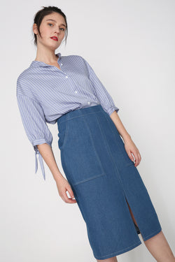 Hailey Denim Pencil Skirt