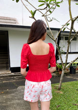 Carien Puff Sleeve Top in Red