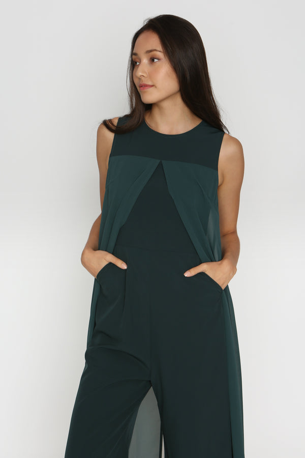 Lethia Luxe Overlay Romper in Forest Green
