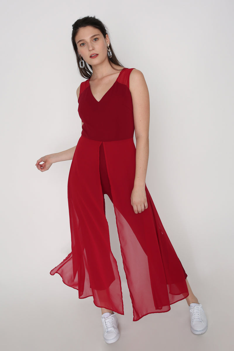 Luisa Mesh Overlay Jumpsuit in Red