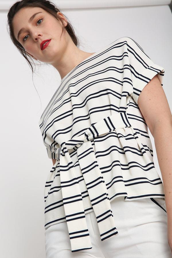 Mavis Striped Tie-Front Top
