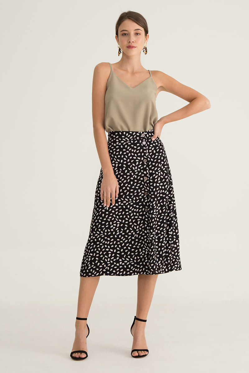 Rika Printed Midi Skirt in Black