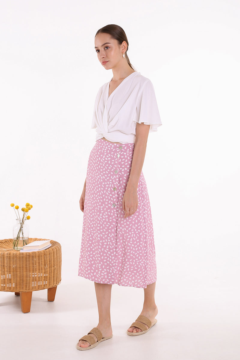 Rika Printed Midi Skirt in Pink