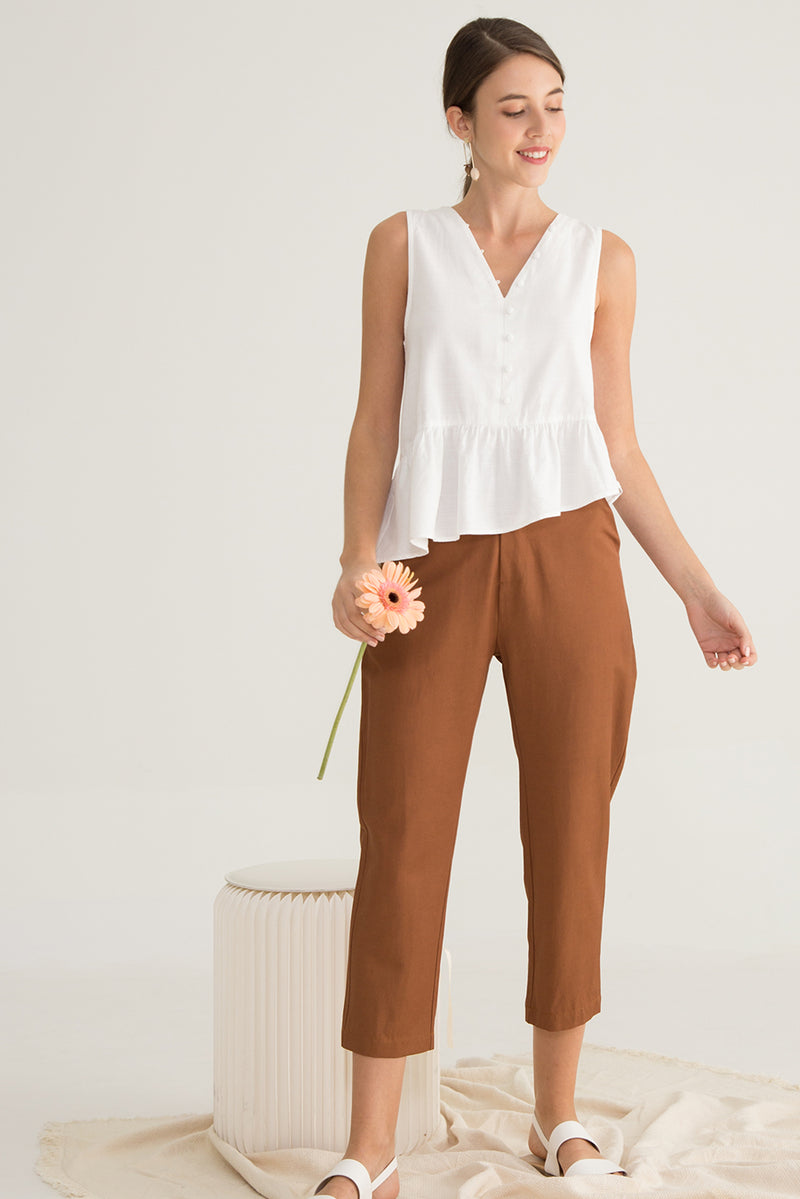 Cath Asymmetrical Buttoned Down Top