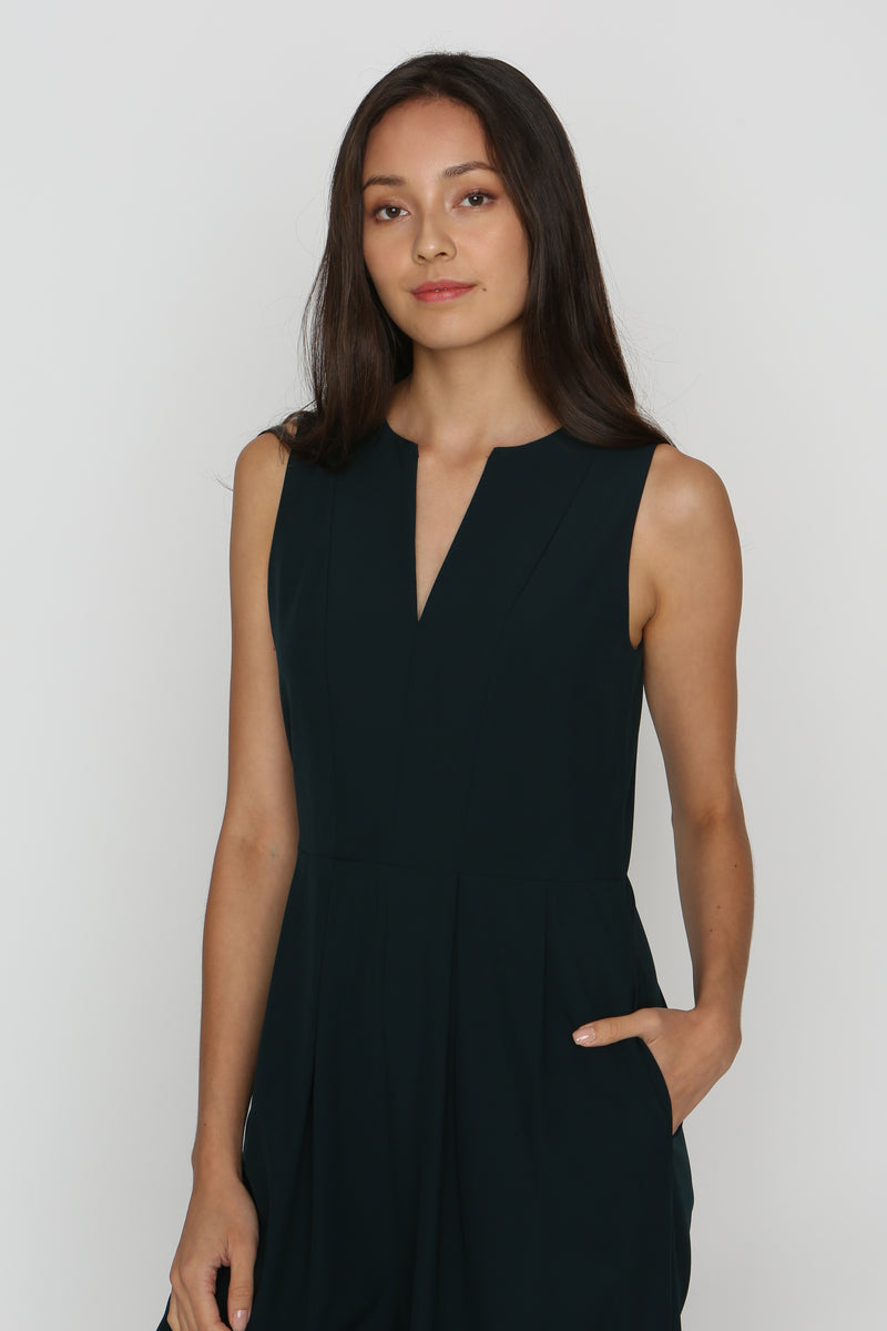 Shay V-Neck Jumpsuit in Pine Green