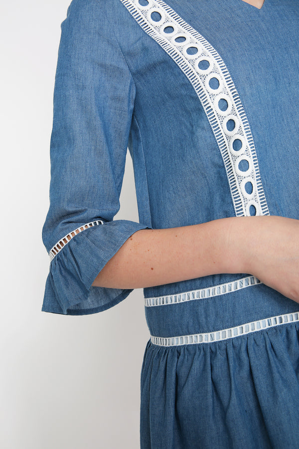Sherlynn Denim Dropwaist Dress
