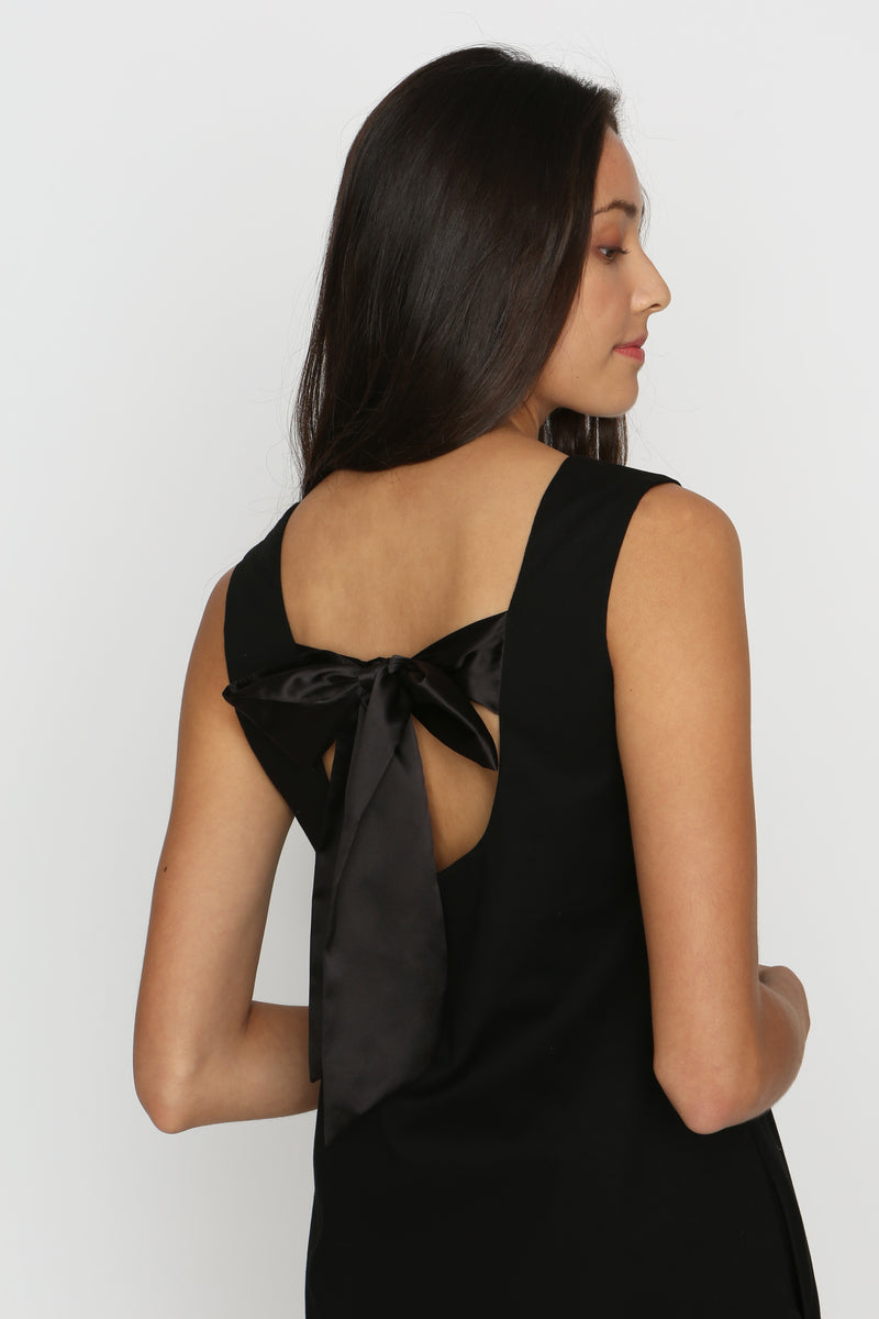Sheryl Satin Bow Dress