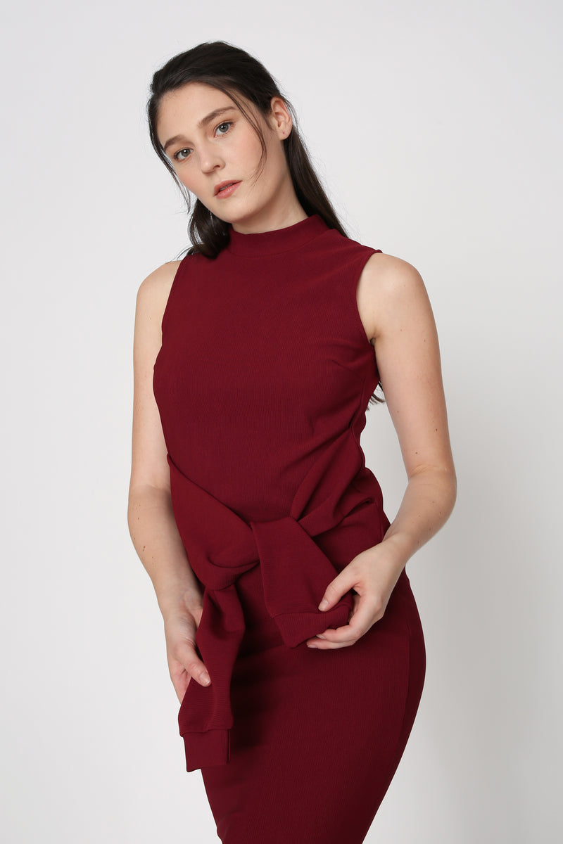 Simona High Neck Ribbed Midi in Maroon
