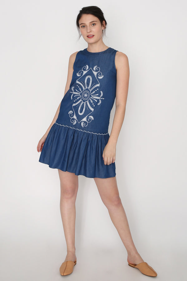 Tasha Embroidered Denim Dress