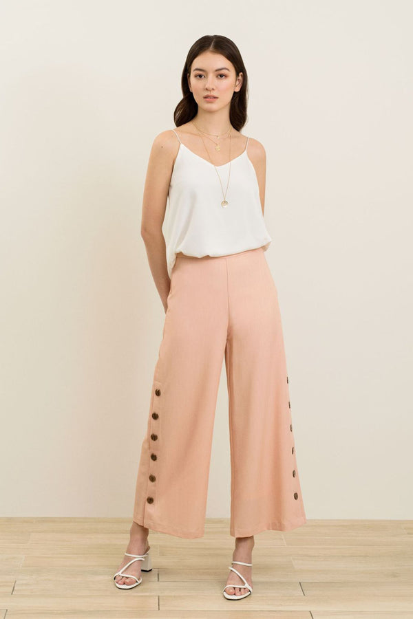 Tina Side Button Culottes In Orange