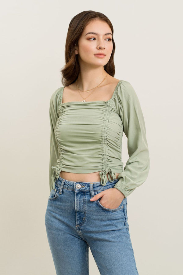 Isabella Ruched Top In Green
