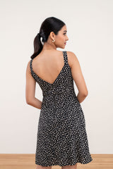 Adelia Printed Floral Dress in Black
