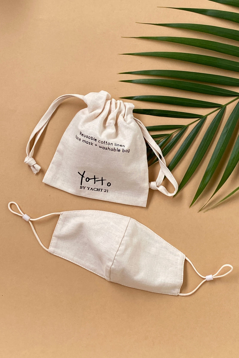 Yotto Mask 2.0 with Washable Bag in Beige, Kids Size