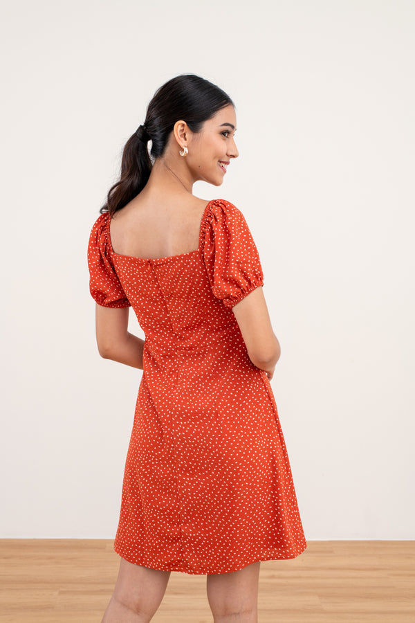Sadie Printed Mini Dress in Orange