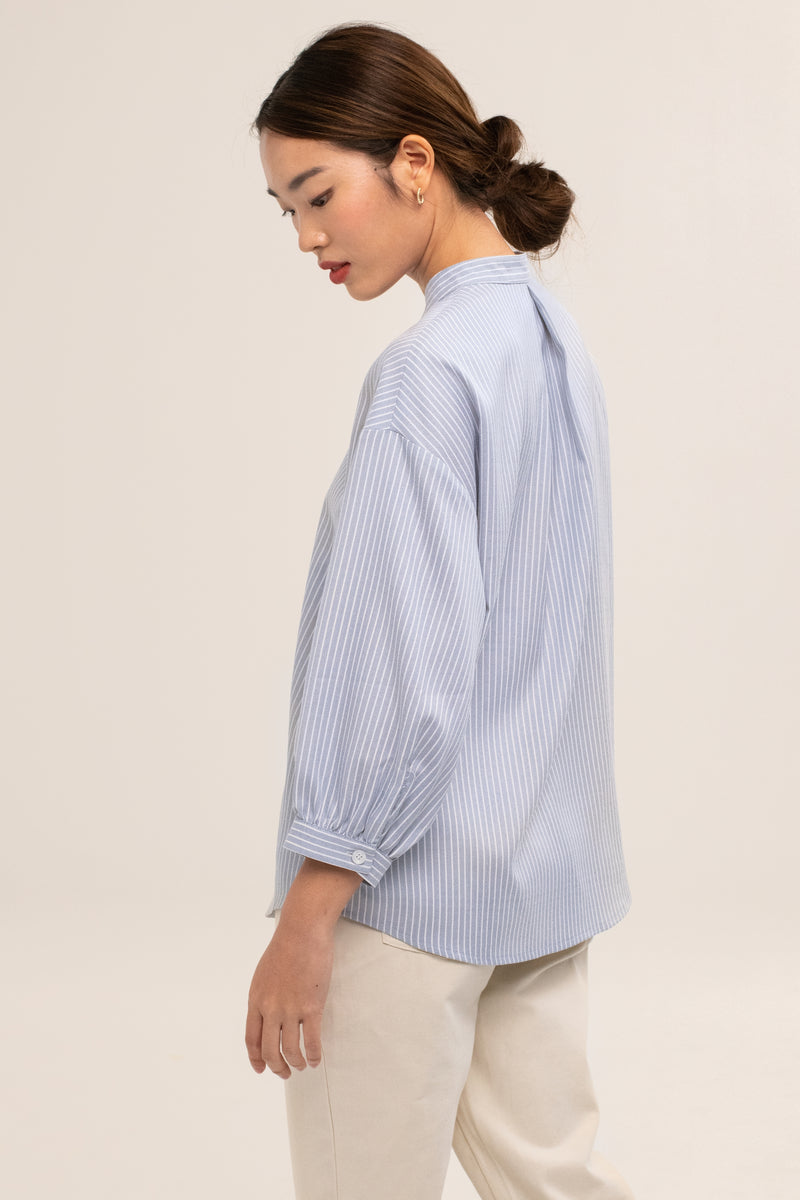 Leonie Striped Buttoned Down Shirt in Blue