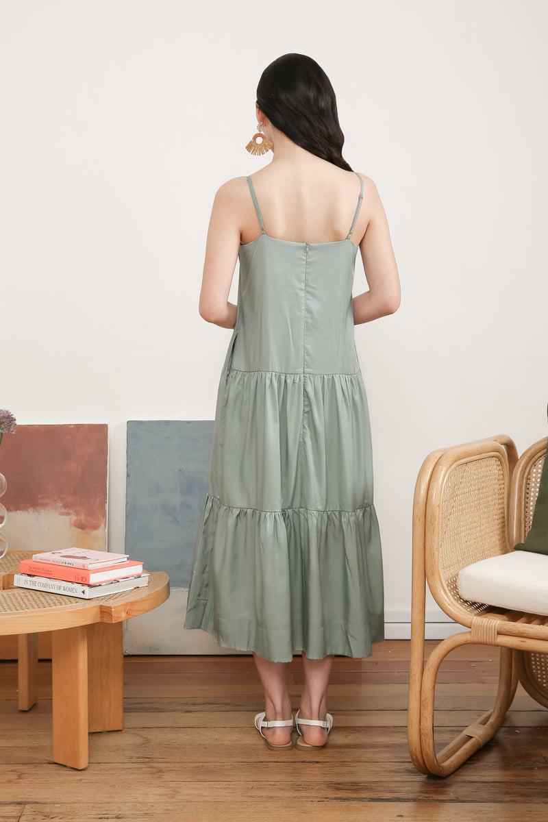 Sarah Slip Dress In Green