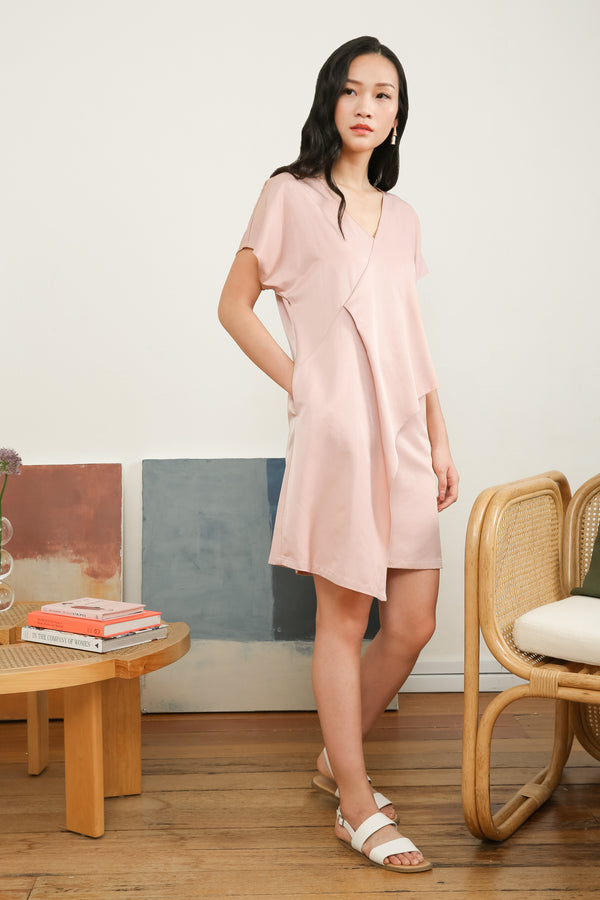 Galia Asymmetrical Overlap Layer Dress in Pink