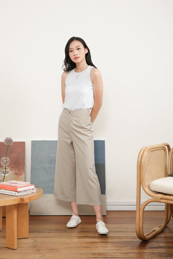 Evelyn High Waisted Culottes in Beige