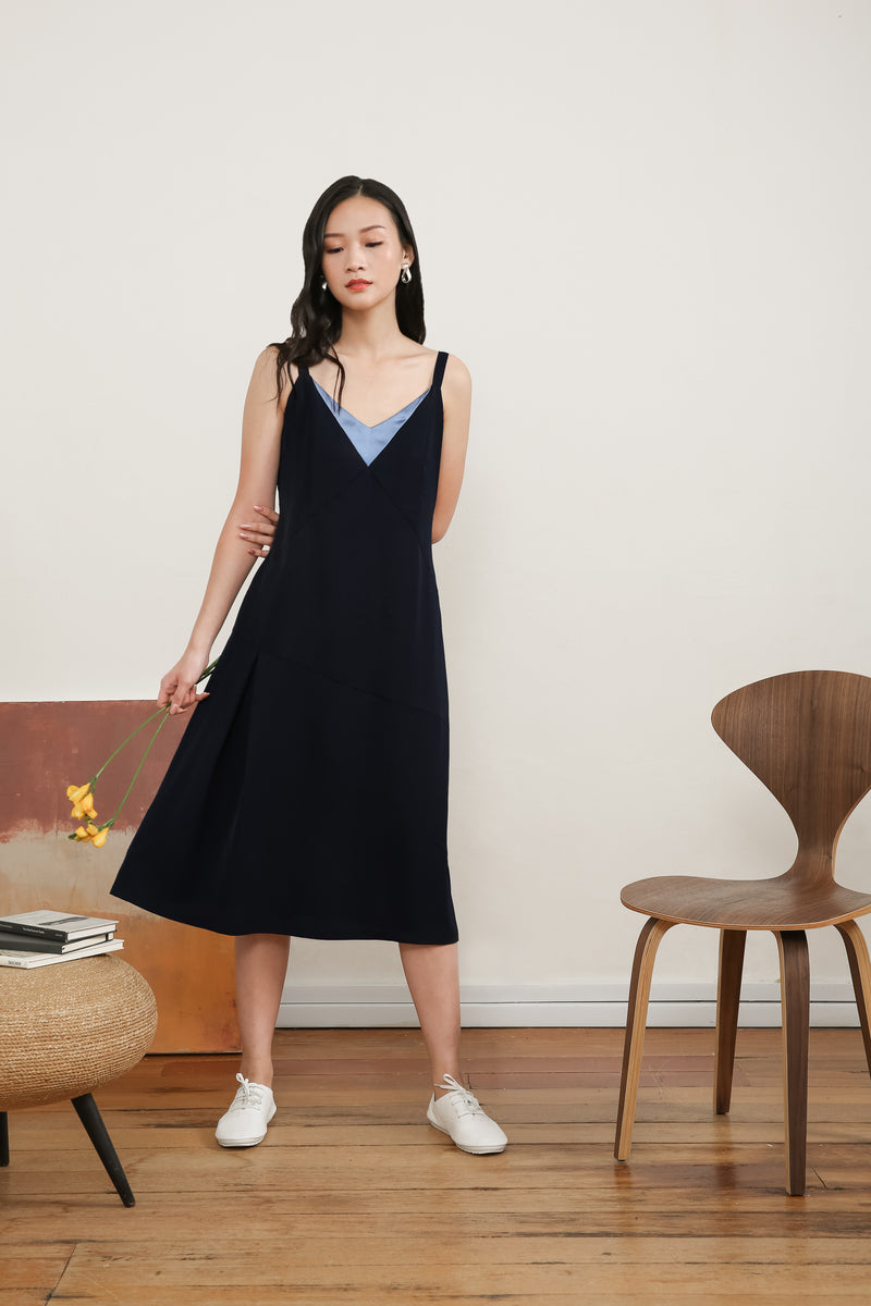 Juliet Sleeveless Slip Dress In Blue