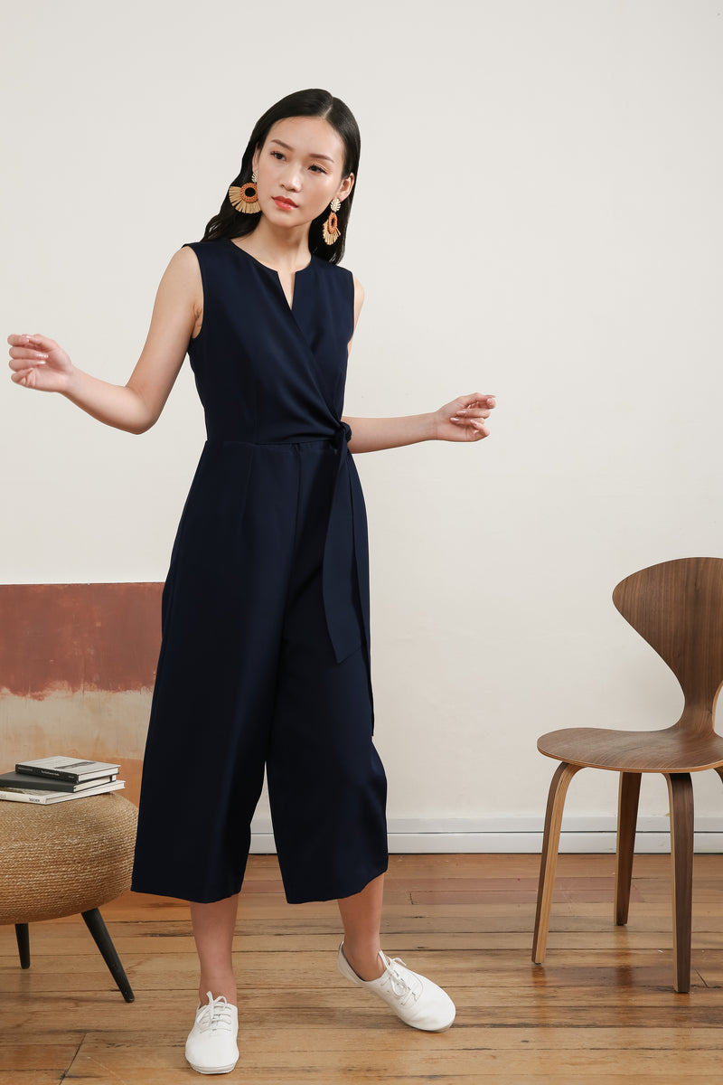 Donina Tie-front Jumpsuit in Navy Blue