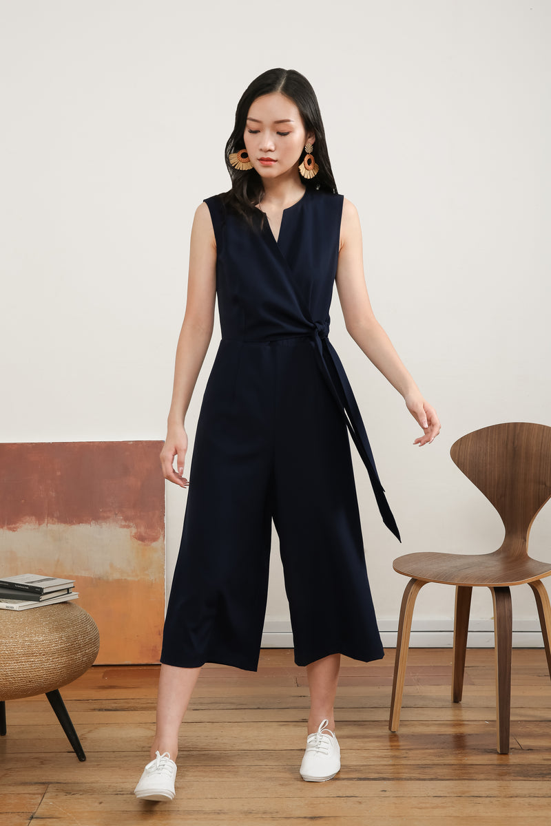 [PRE-ORDER] Donina Tie-front Jumpsuit in Navy Blue