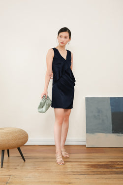 Eldora Front Ruffle Dress in Navy Blue