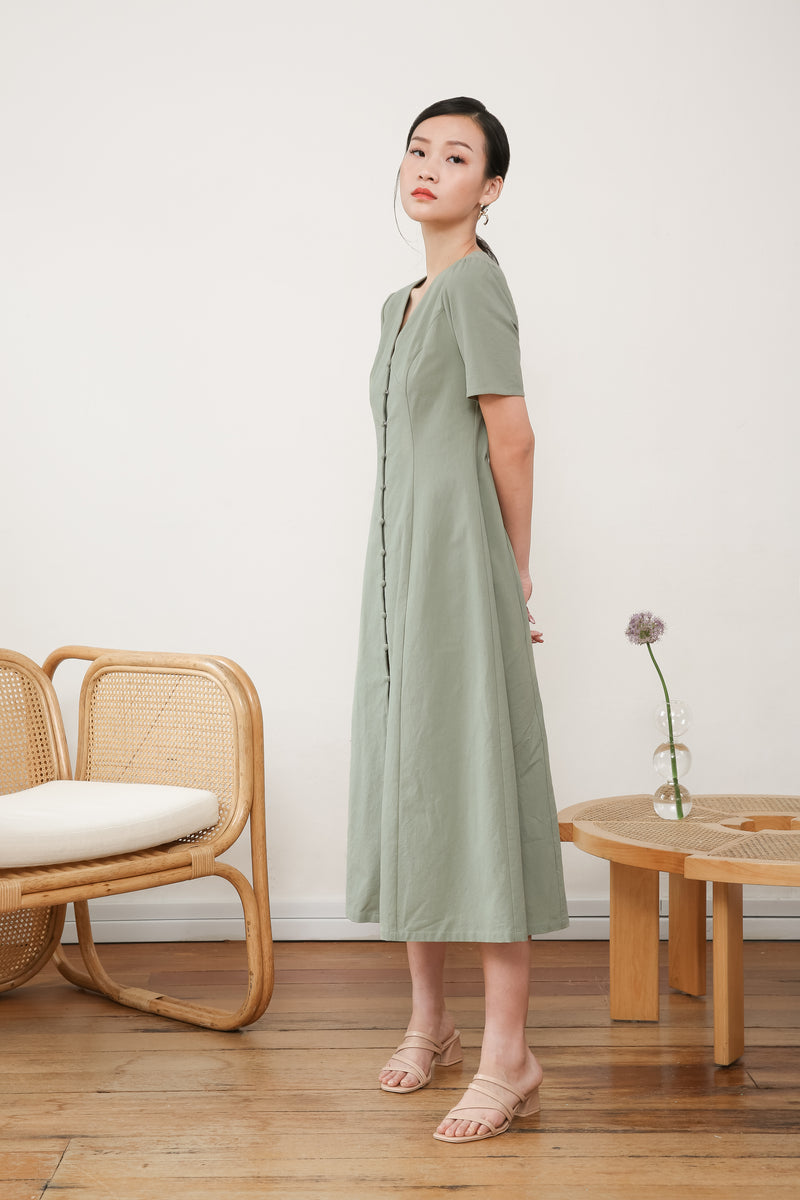 Olivia Buttoned Down Midi Dress
