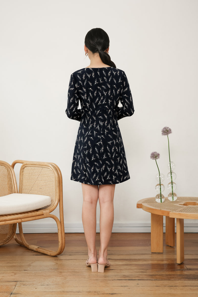 Amelia Long Sleeve Printed Dress in Blue