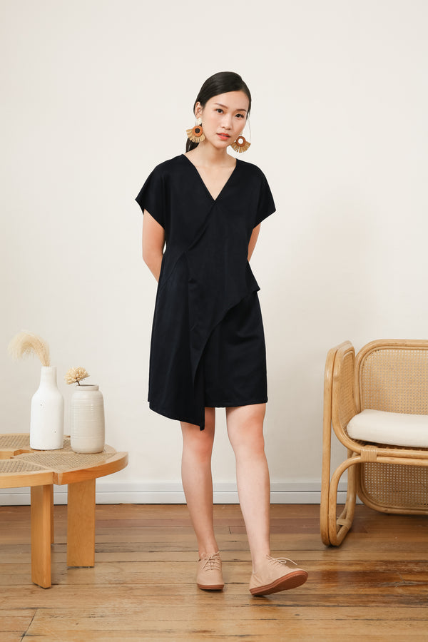 Galia Asymmetrical Overlap Layer Dress in Black