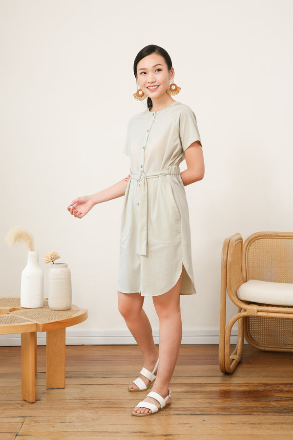 Charlotte Belted Dress in Beige