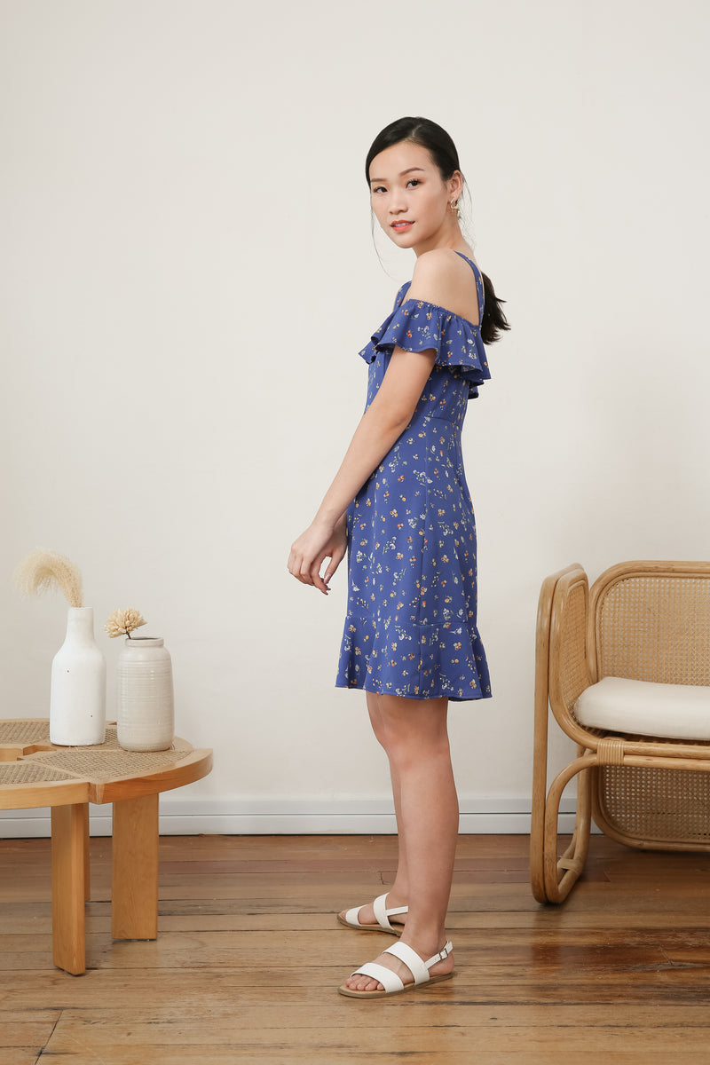 Madeline Printed Ruffle Dress in Blue