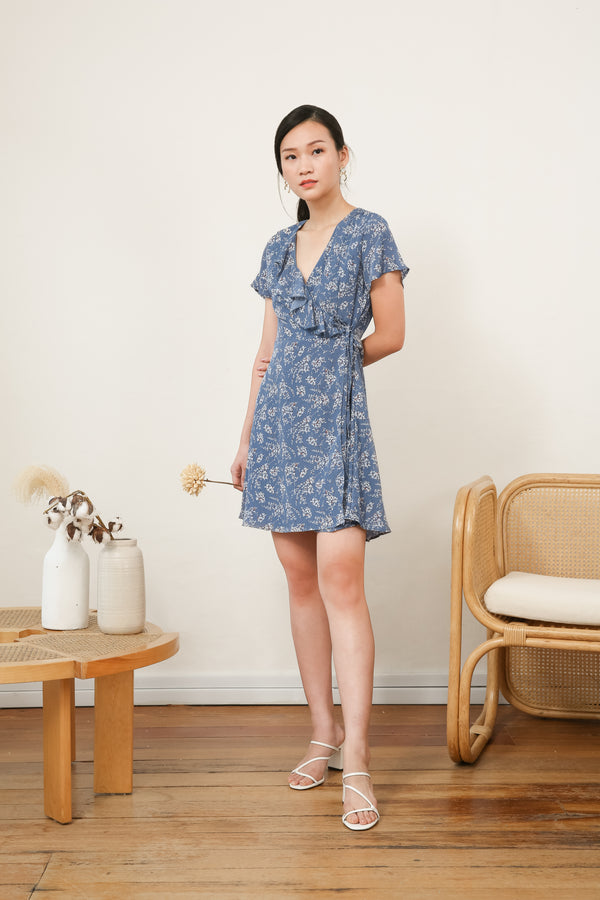 Camelia Ruffle Wrap Dress in Blue