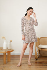 Amelia Long Sleeve Printed Dress in Beige