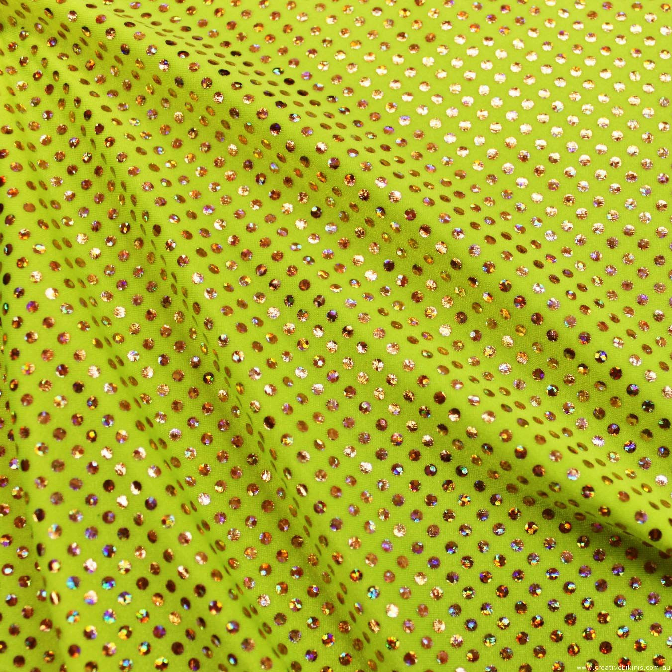 10612 Fluro YELLOW with gold dots Sample