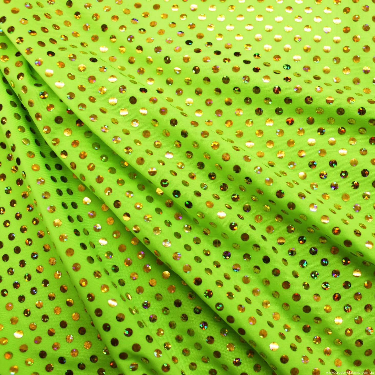 10612a  Fluro Green with gold dots Sample