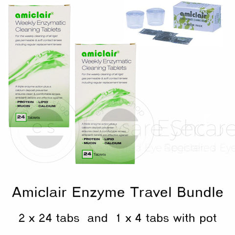 Amiclair Contact Lens Protein Remover Tablets with Soaking Pots