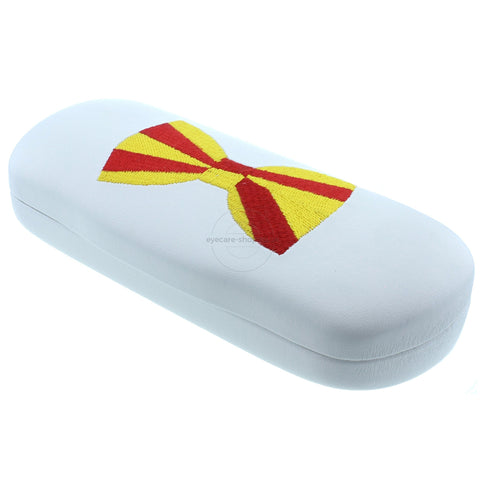 Fun Glasses Case with a Red and yellow Bow Tie design