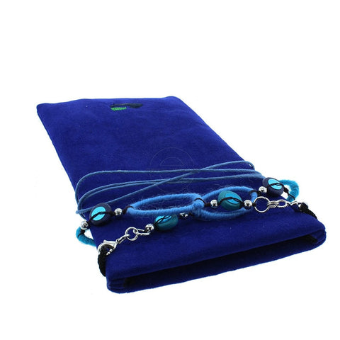 Royal Blue Soft Glasses Case with Decorative Neck / Spectacle Chain - Glamour Plaza