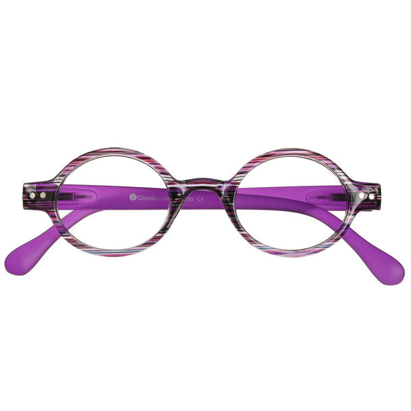 +3.00 Reading Glasses - Womens - Purple Stripe - Louvre - Eyecare-Shop - 1
